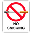 no smoking poster design vector image vector image