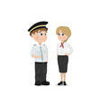 pilot and stewardess cartoon characters vector image