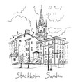riddarholmen in stockholm sweden vector image vector image