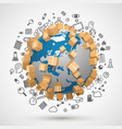 sending worldwide icon set vector image vector image