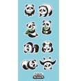 Set of stickers with cute pandas vector image