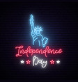statue liberty for 4th july neon sign vector image