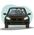 successful businessman driving prestigious vector image