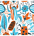 summer seamless pattern with bugs and leaves vector image vector image