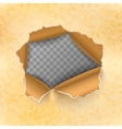 Torn hole in yellow sheet of old paper vector image vector image