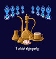 turkish style party greeeting card with evil eyes vector image vector image