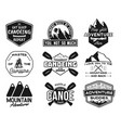 vintage canoe kayaking logos patches set hand vector image vector image