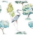 Watercolor herons and trees patterns vector image vector image