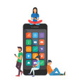 young children are near a large smartphone and vector image vector image