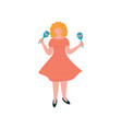 young woman shaking maracas female musician vector image