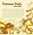 italian pasta sketch poster with fresh macaroni