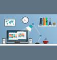 flat design desktop workspace vector image