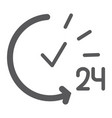 24 hours glyph icon service and time open all vector image vector image