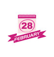 28 february calendar with ribbon vector image vector image