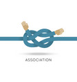 association hands sea knot asymmetric flat style vector image