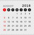 august 2018 calendar calendar planner design vector image vector image