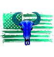 bull skull american flag buffalo head vector image