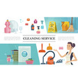 cartoon cleaning service concept vector image vector image