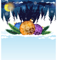 Christmas decorations in the wood vector image vector image