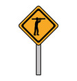 color diamond caution emblem and laborer with vector image vector image