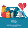 color poster elements sport healthy lifestyle with vector image vector image