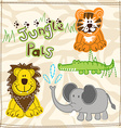 Cute African wild animals embroidery vector image