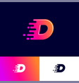 d letter winds movement dynamic logo velocity deli vector image
