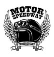 emblem template with winged motorcycle racer vector image vector image