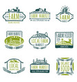 farm and organic food labels vintage vector image vector image