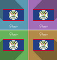 Flags Belize Set of colors flat design and long vector image vector image