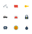 flat icons siren clue explosive and other vector image vector image