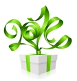gift box and green ribbon in the shape of 2014 vector image vector image
