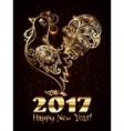 Golden hand drawn ornate rooster silhouette with vector image