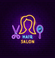 hair salon neon label vector image