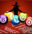halloween bingo balls and spooky witch vector image vector image