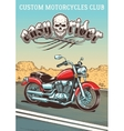 hand-drawn vintage motorcycle on background of vector image vector image