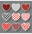 Happy valentines day set of heart stickers on wood vector image