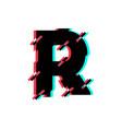 logo letter r glitch distortion diagonal vector image