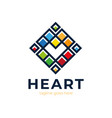 love pixel heart logo simple square poly vector image