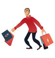 man with shopping bags in vector image