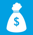 money bag icon white vector image vector image