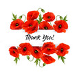 natural greeting card with red poppies flowers vector image