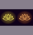 neon yellow and orange lotus vector image vector image