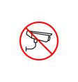 no surveillance line icon no camera prohibition vector image vector image