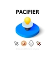 Pacifier icon in different style vector image vector image