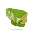 piece matcha pancake cakecovered with green vector image