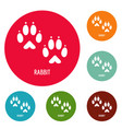 rabbit step icons circle set vector image