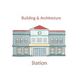 railway station icon cartoon vector image