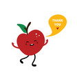 red apple character saying thank you vector image vector image