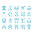 robot simple blue line icons set vector image vector image